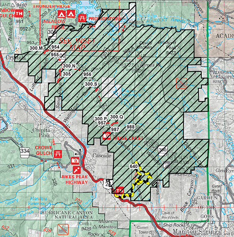 A U S Forest Service Map Shows The Roughly 18 000 Acre Burn Area From The 2012 Waldo Canyon Fire Including The Identification In Black And Yellow Of The